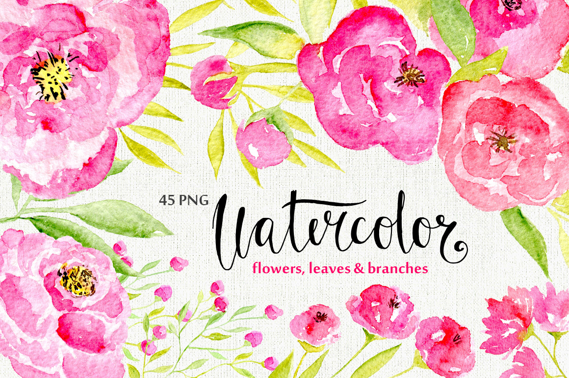 45 pink watercolor flowers and green leaves example image 1