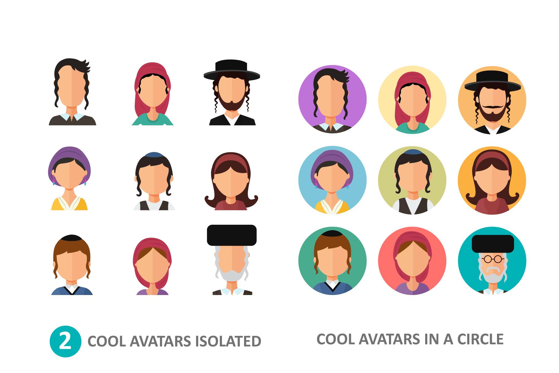 Jewish avatars family cartoon flat example image 3