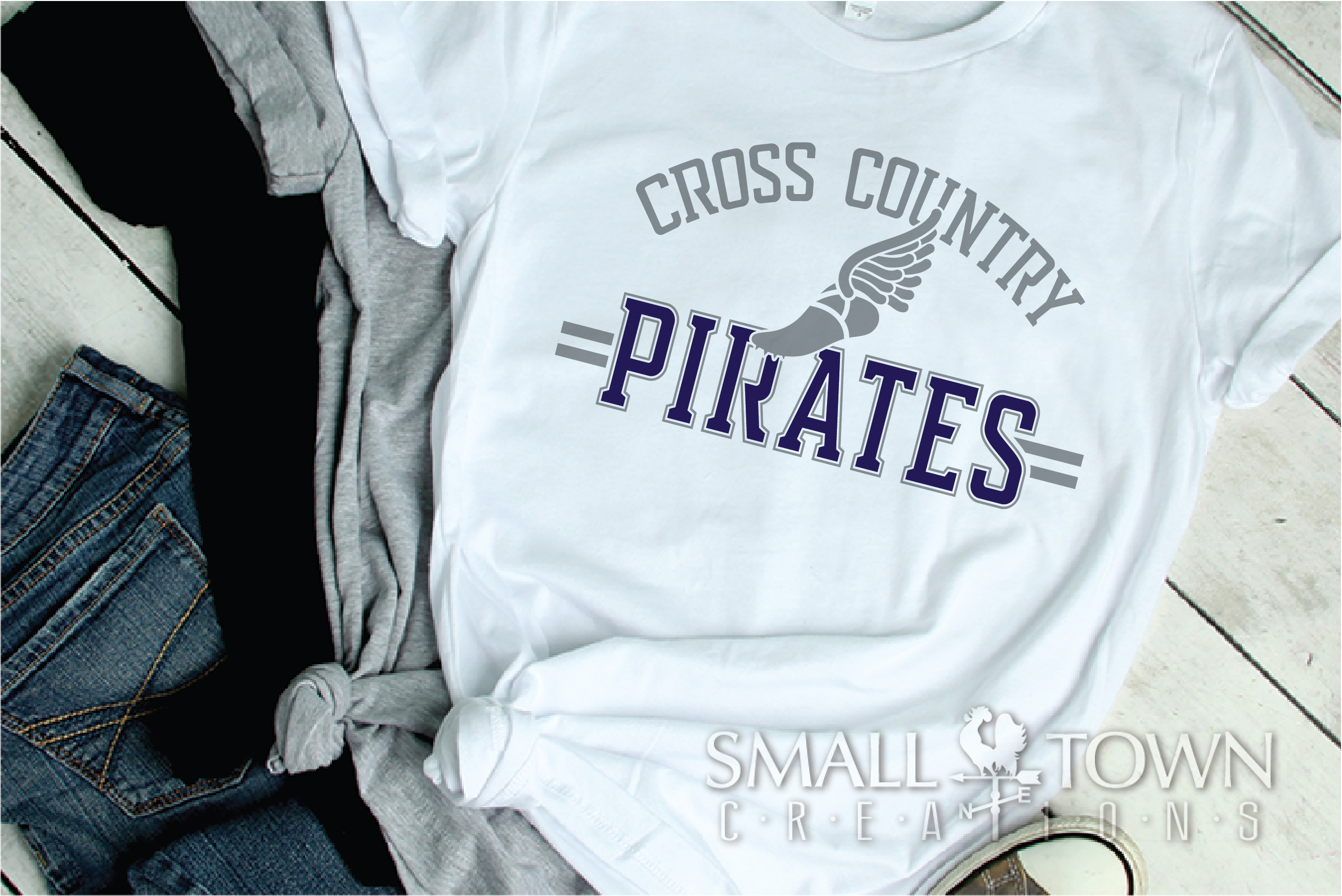 Pirate Cross Country, Sports, Logo, PRINT, CUT & DESIGN example image 2