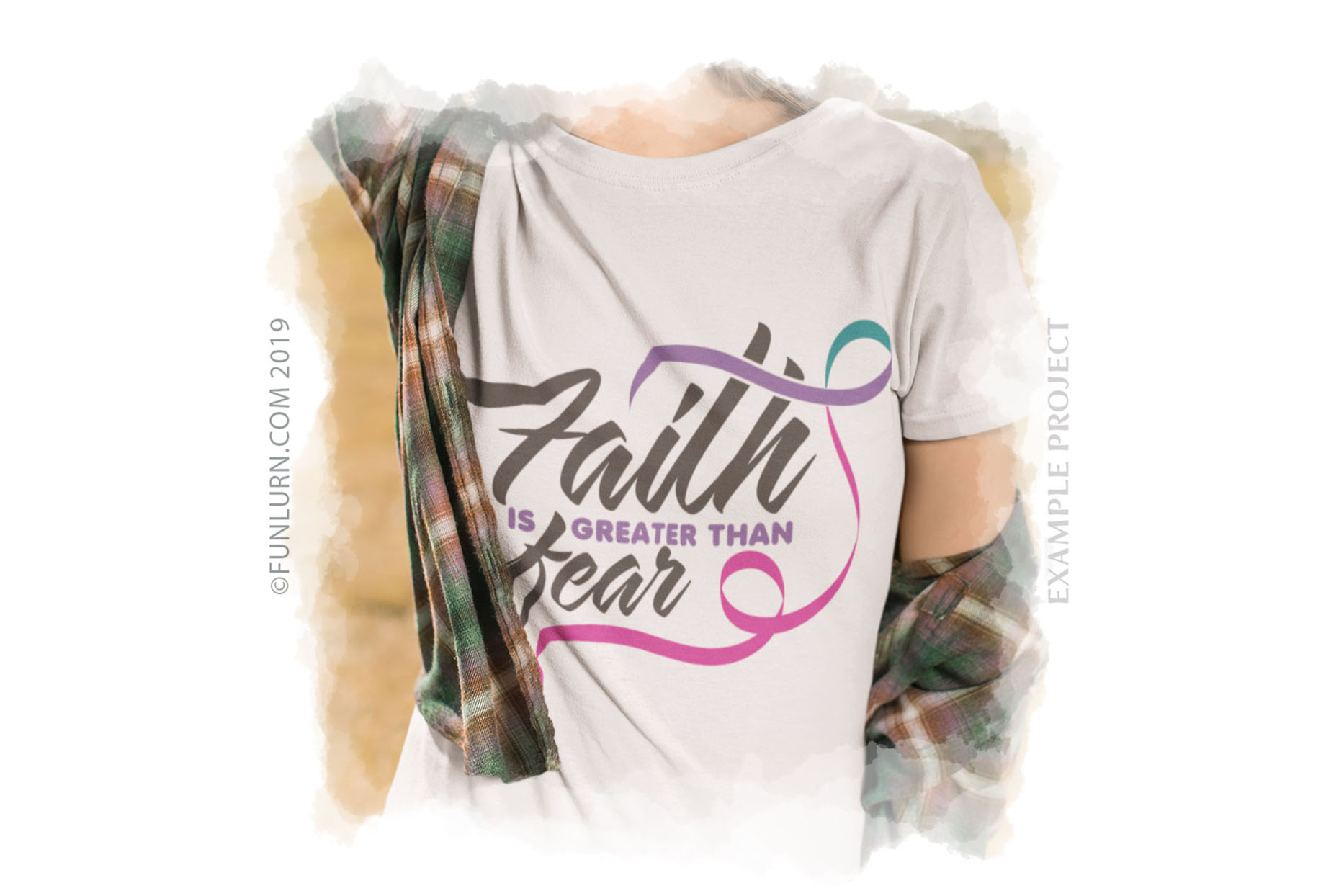 Faith is Greater Than Fear Purple Teal Pink Ribbon SVG example image 3