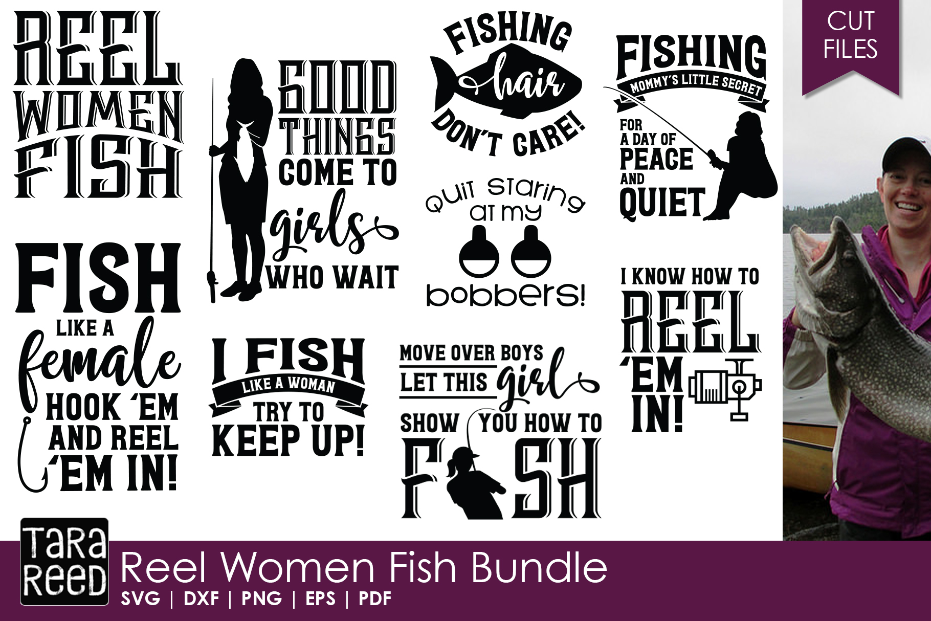 Reel Women Fish - Fishing SVG and Cut Files for Crafters example image 1