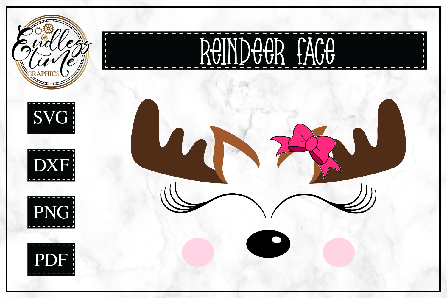 Reindeer Face Christmas SVG example image 1