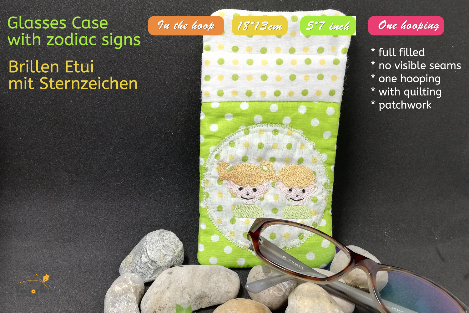 ITH - Glasses Case with Zodiac sign Gemini - Embroidery file example image 1