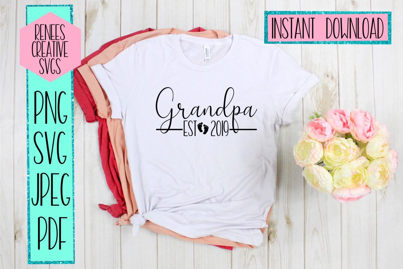 Grandpa Est 2019   New Grandparents   SVG Cut File example image 2