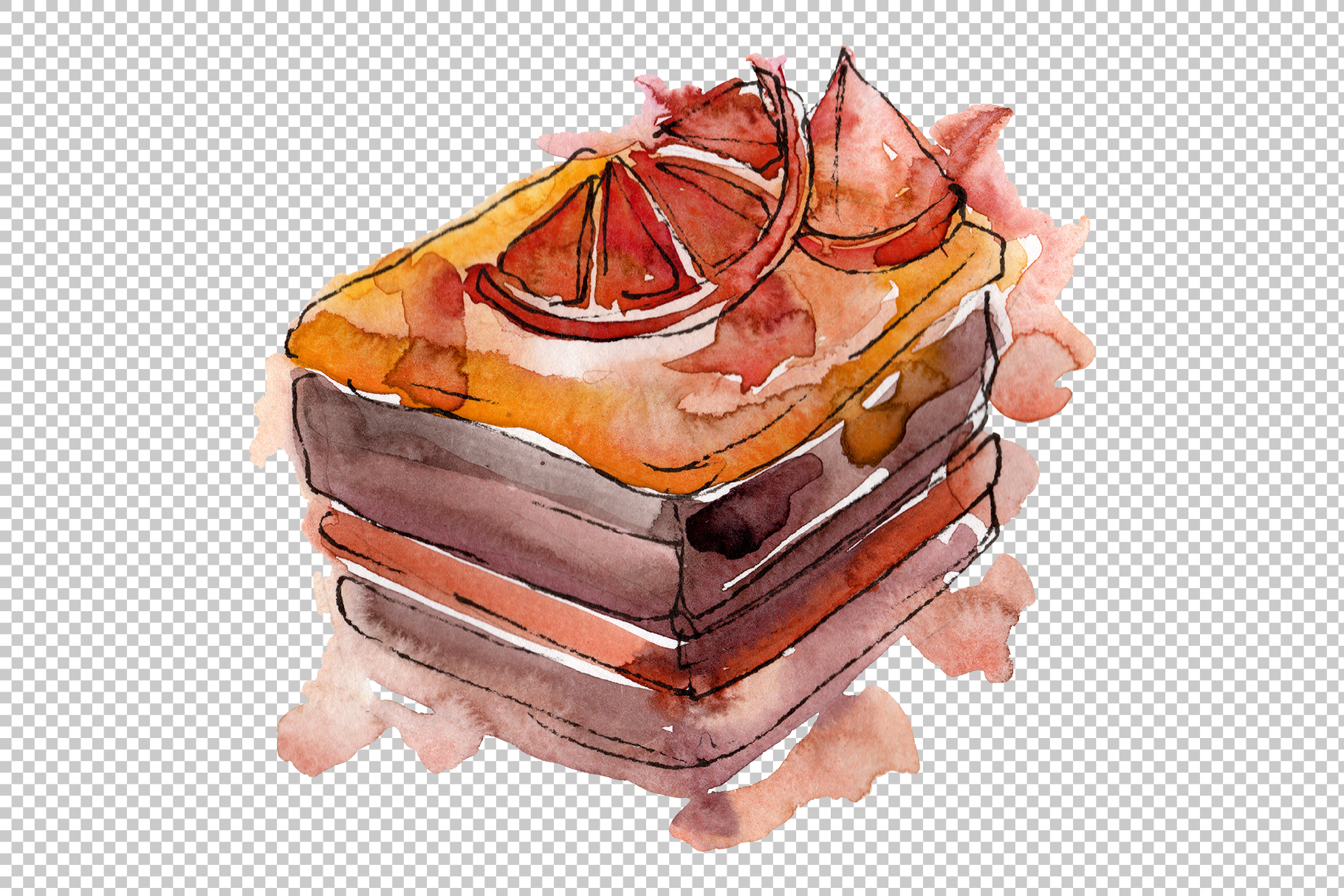 Sweet yummy cake Watercolor png example image 6