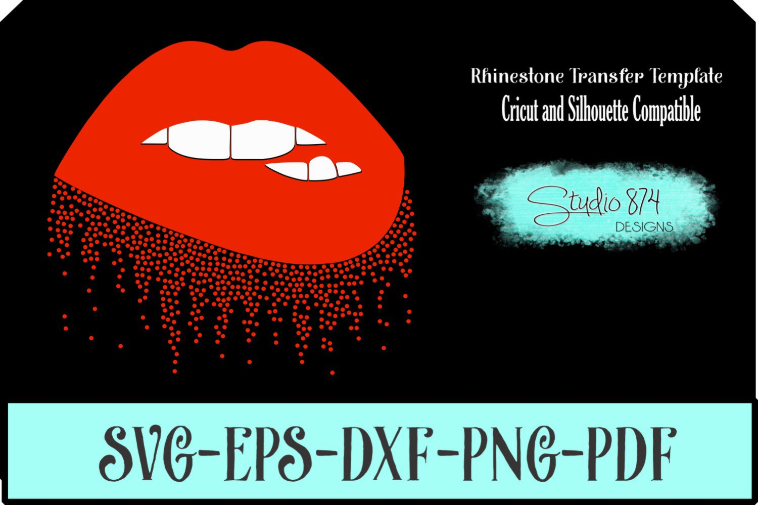 Dripping Lips Vector SVG Template - Vinyl Cut File example image 1