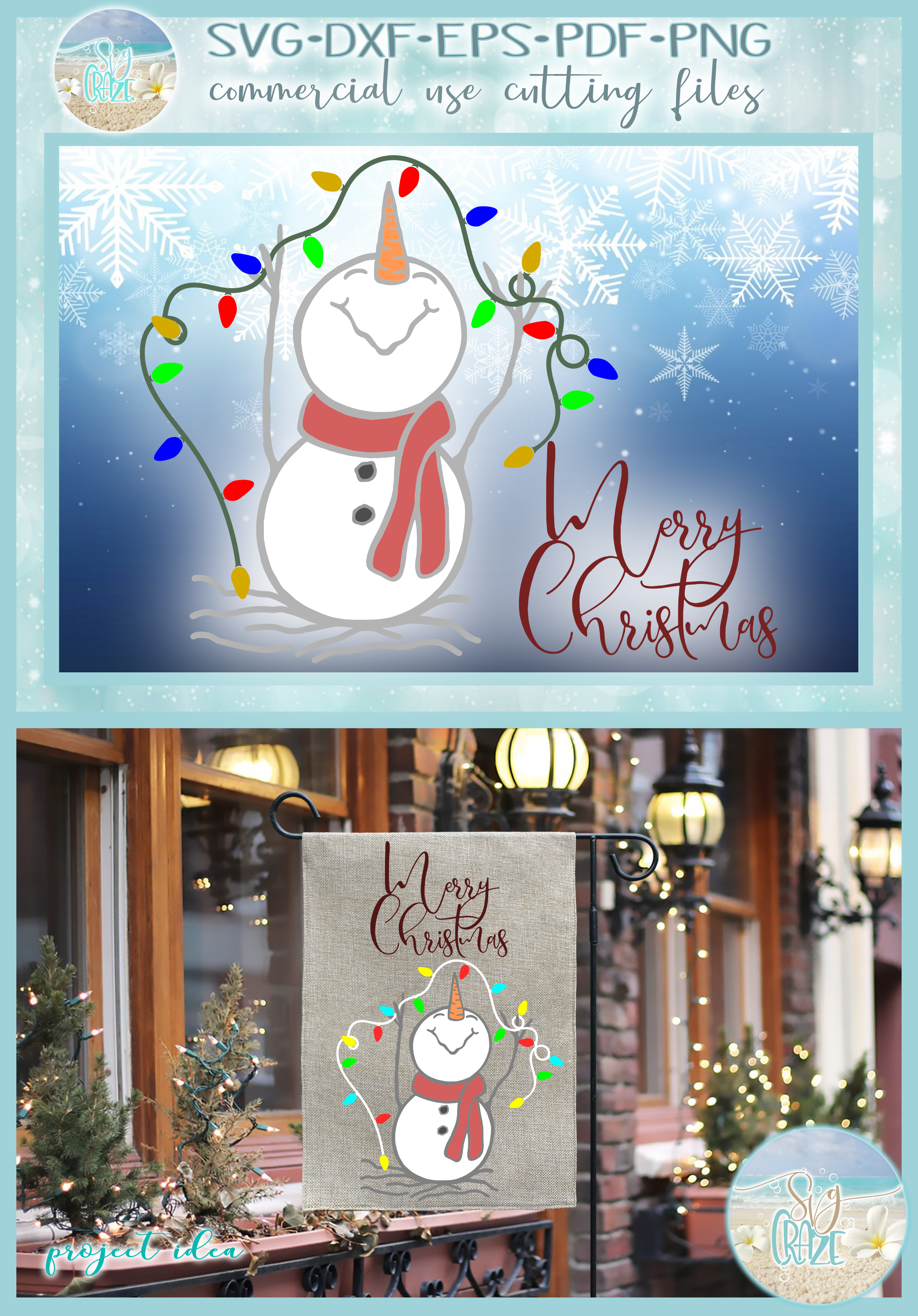 Happy Snowman with Lights Merry Christmas SVG example image 4