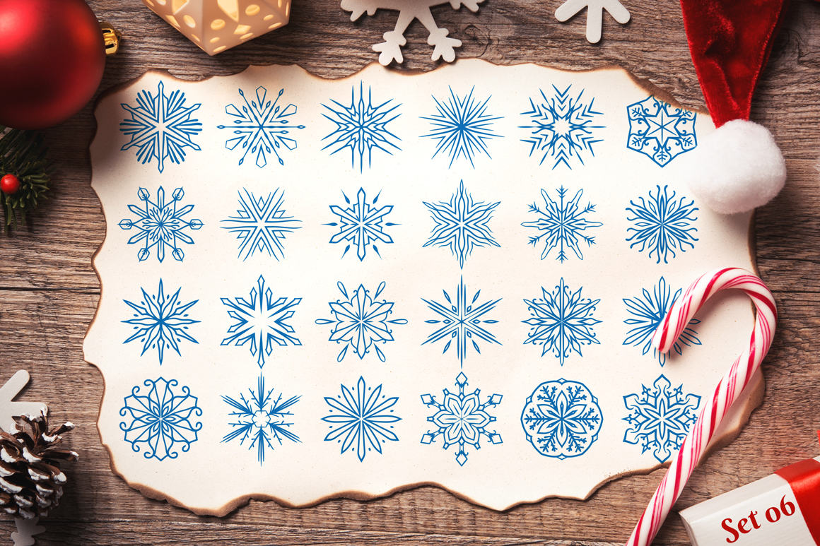 500 Snowflake Vector Ornaments example image 13
