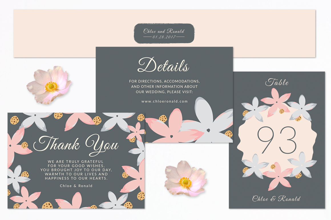 Modern Floral Wedding Invitation Set example image 3