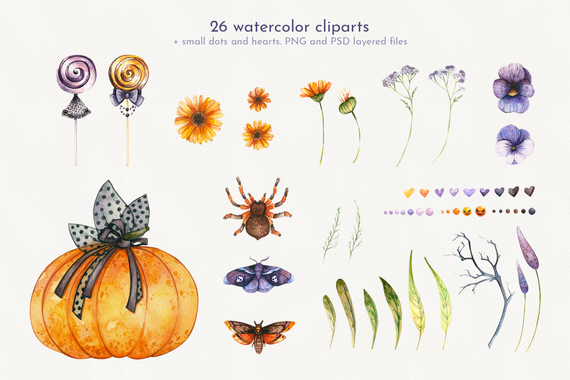 Floral Halloween. Watercolor backgrounds and elements example image 2