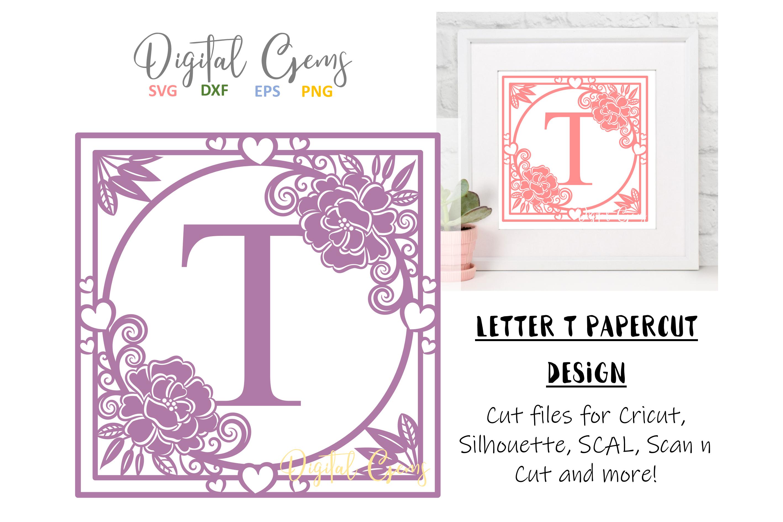Letter T papercut design. SVG / DXF / EPS files example image 1