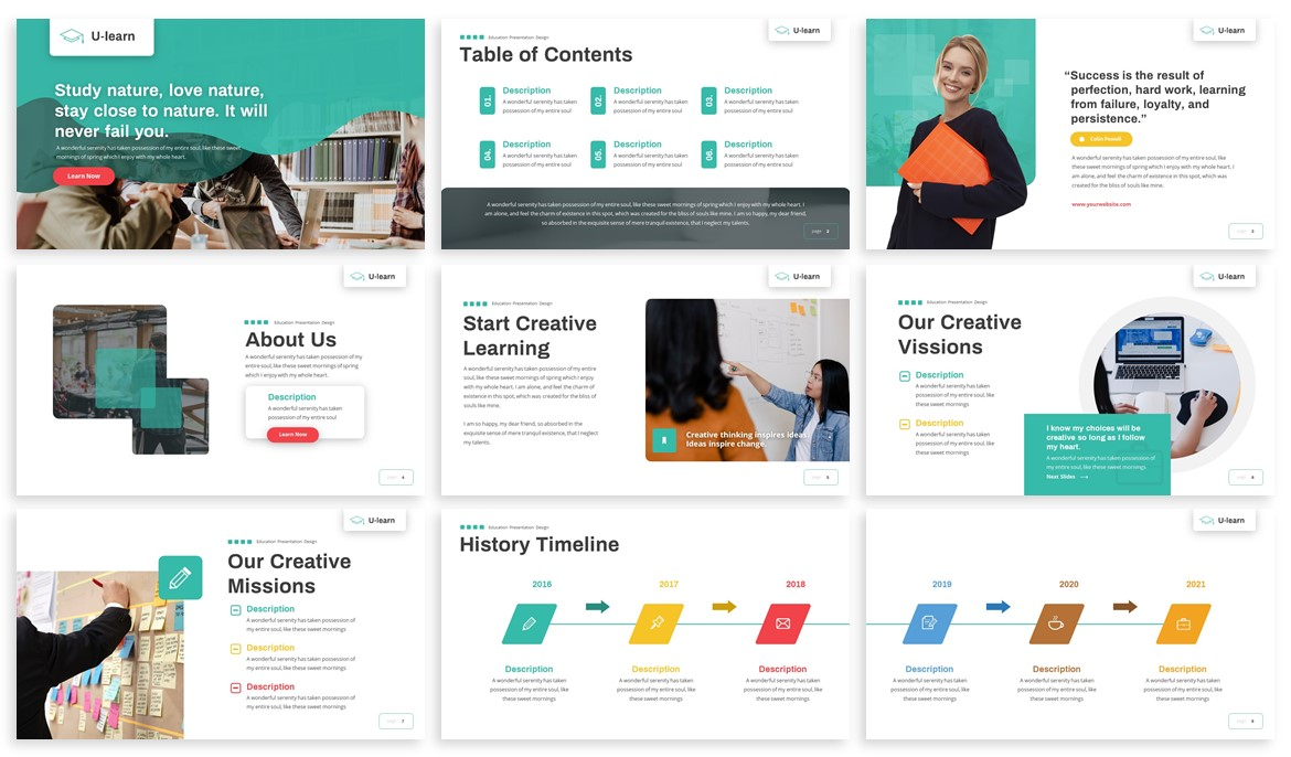 U-Learn - Education Powerpoint Template example image 2