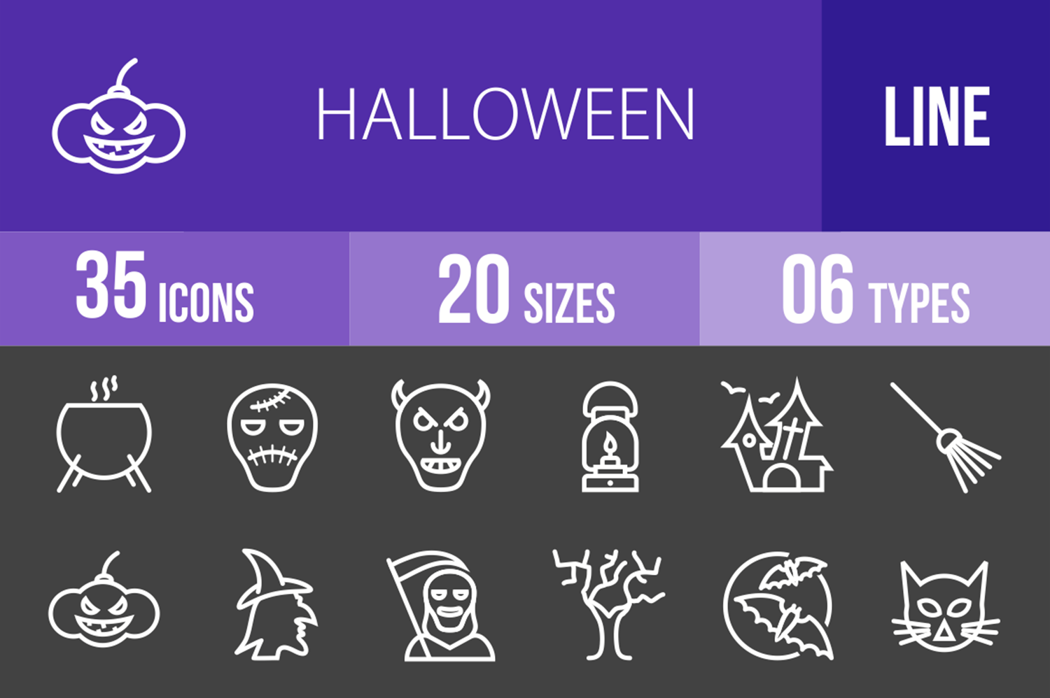 35 Halloween Line Inverted Icons example image 1