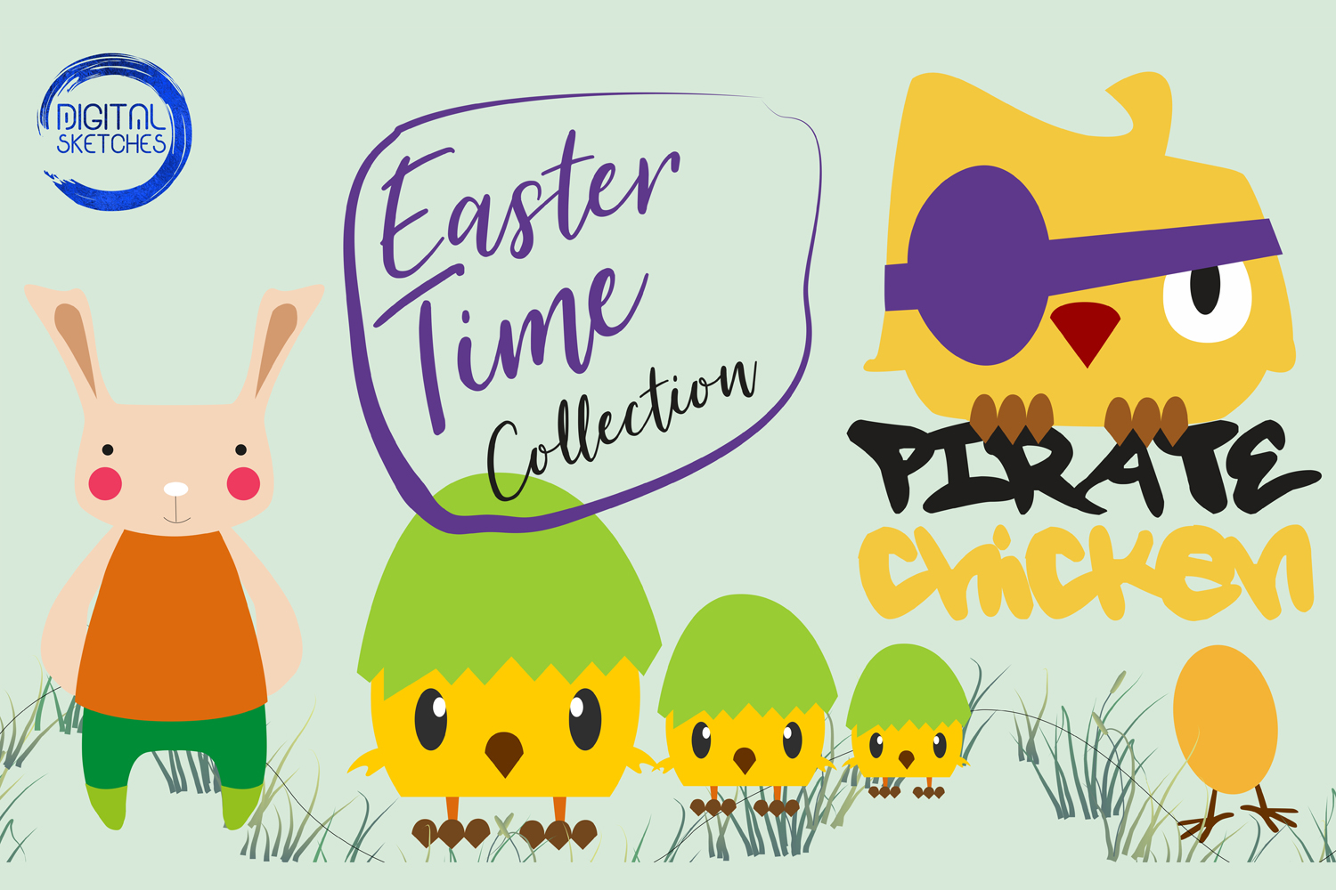 Easter Chicken Chick Cut File Vector Graphics Illustration example image 2