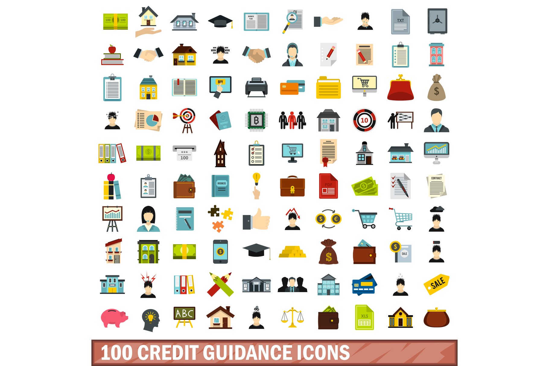 100 credit guidance icons set, flat style example image 1