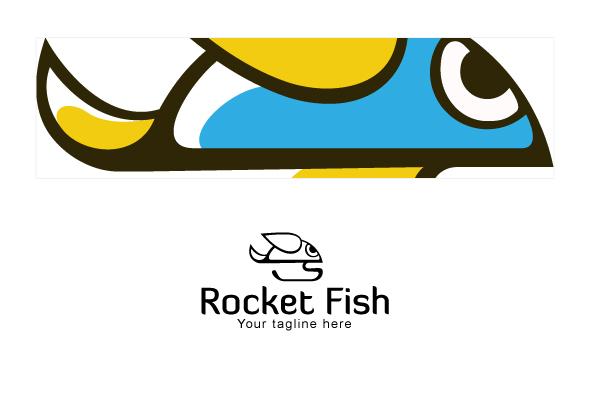 Rocket Fish - Simple Cute Stock Logo Template example image 3