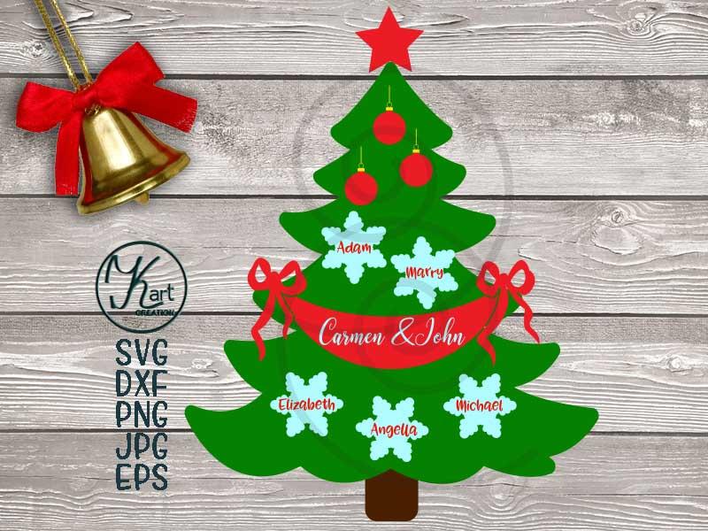 Family tree svg, Christmas tree svg, Family Christmas tree example image 2