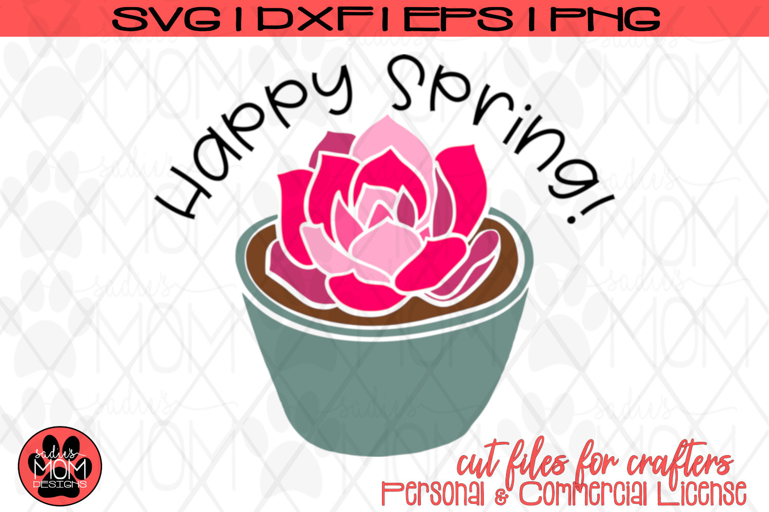 Happy Spring - Potted Flower | SVG Cut File example image 2