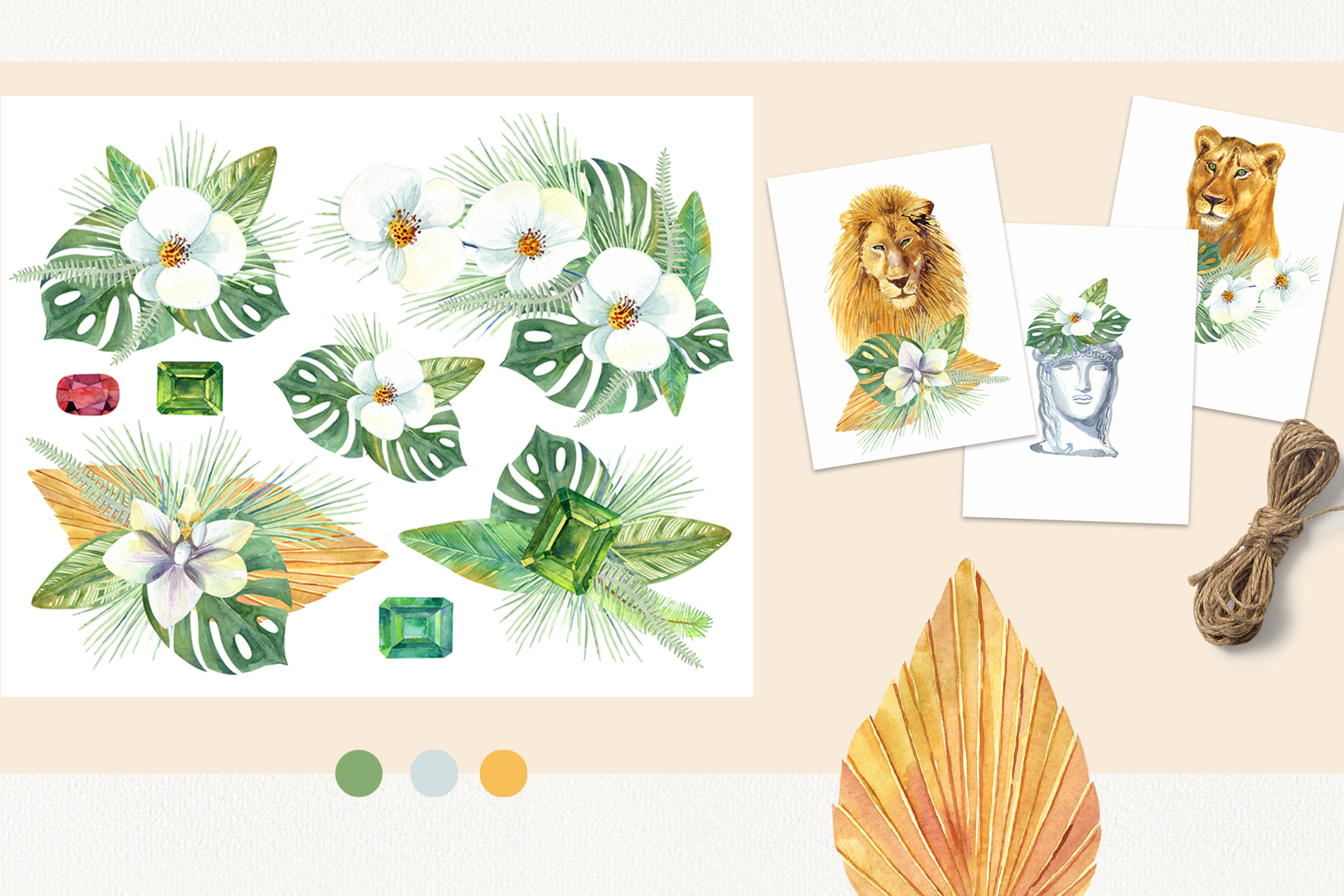 Watercolor Tropical Dream Clip Art example image 3
