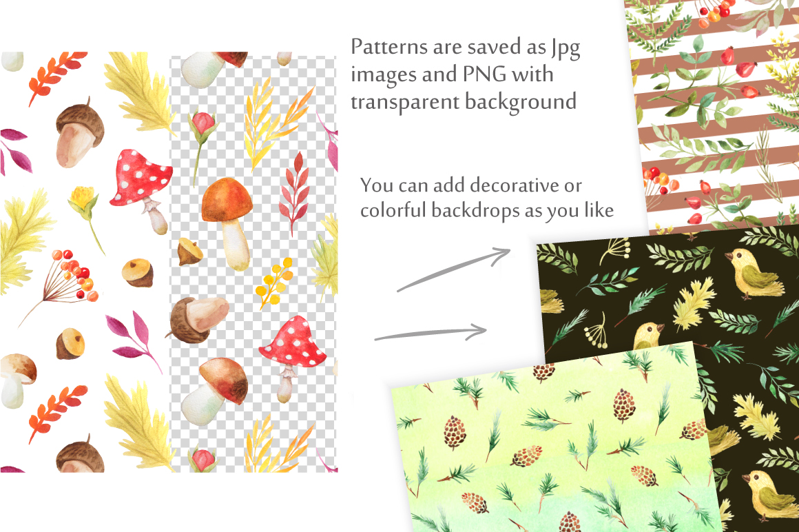 Watercolor Autumn Patterns Vol.2 example image 5