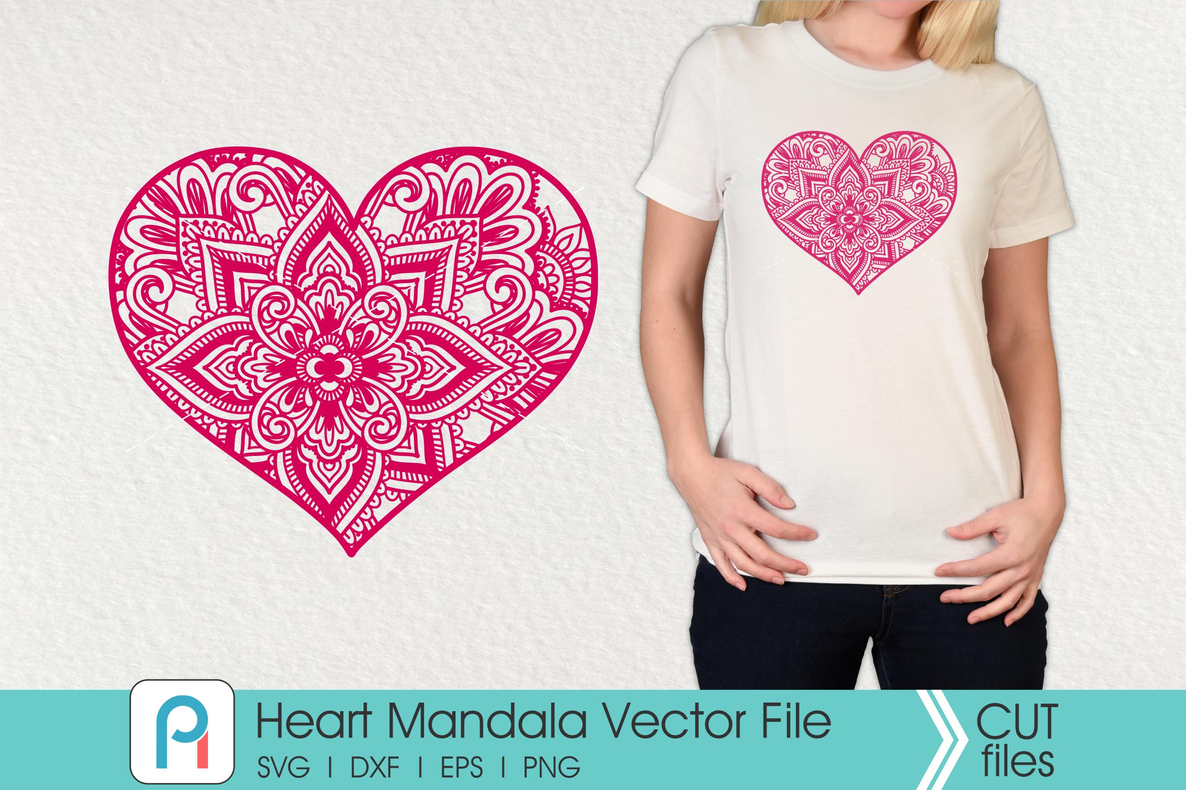 Heart Mandala Svg, Heart Svg, Zentangle Heart Svg, Heart example image 2