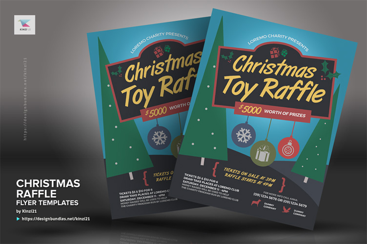 Christmas Raffle Flyer Templates example image 2