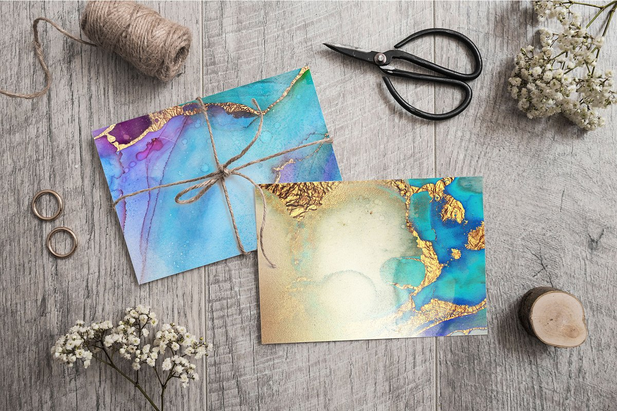 Gold Watercolor and Foil JPG-PNG Textures-BUNDLE example image 18