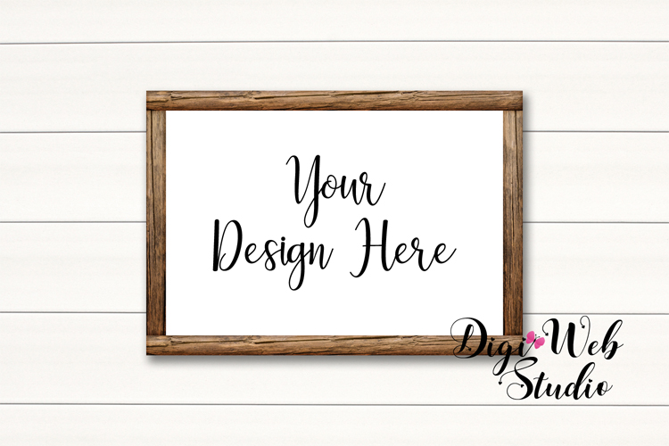 Wood Signs Mockup Bundle - 10 Wood Frames on White Shiplap example image 5