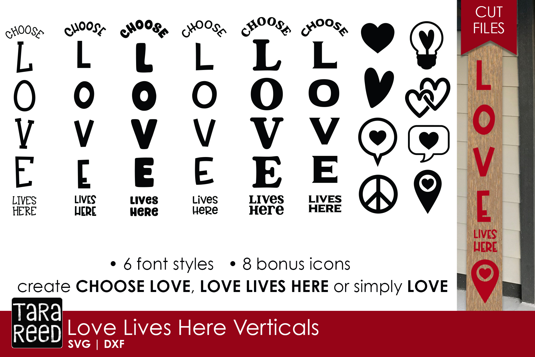 Love Lives Here Vertical Sign Bundle - Sign SVG & Cut Files example image 1