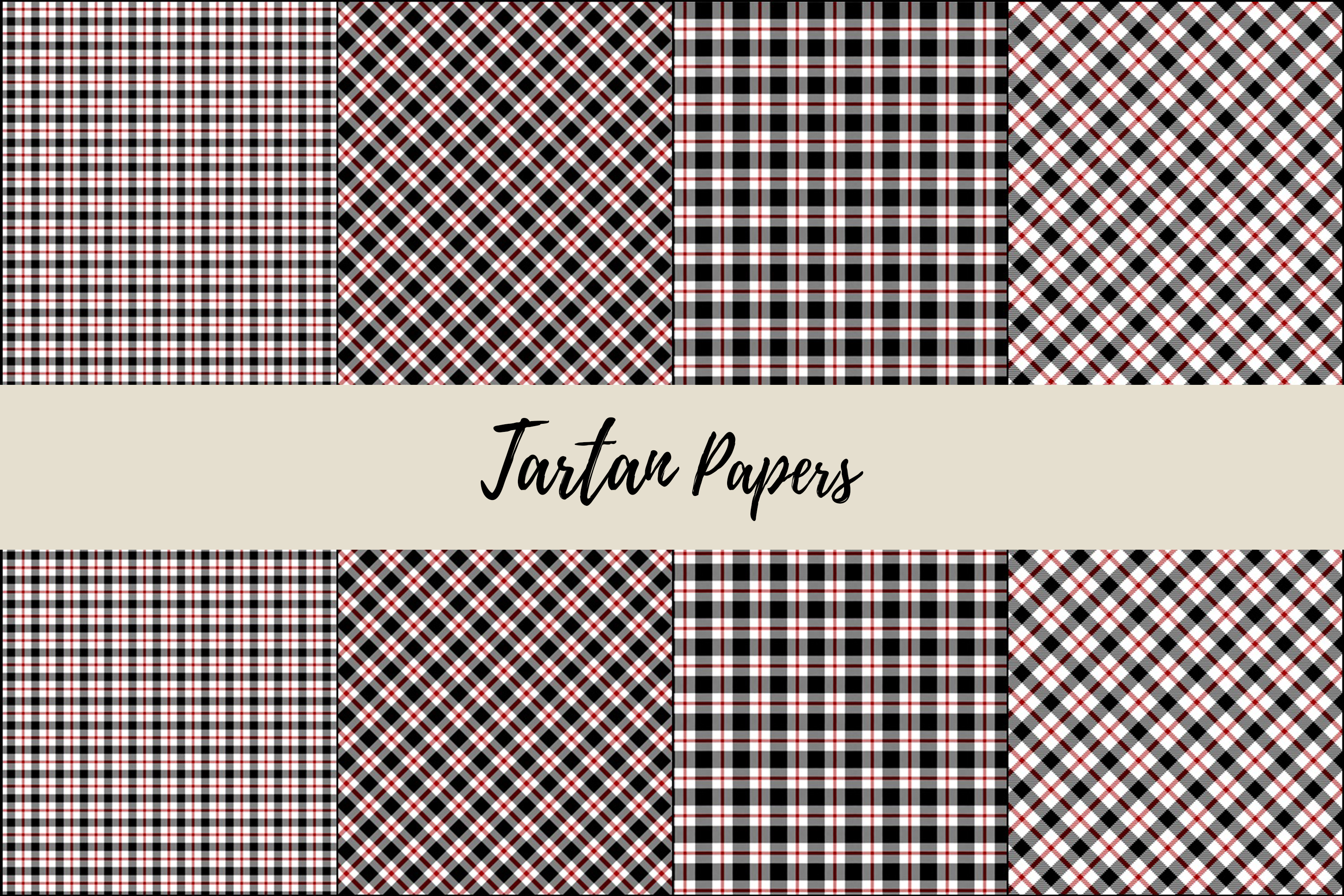 22 Black & Red Tartan Background Papers example image 7