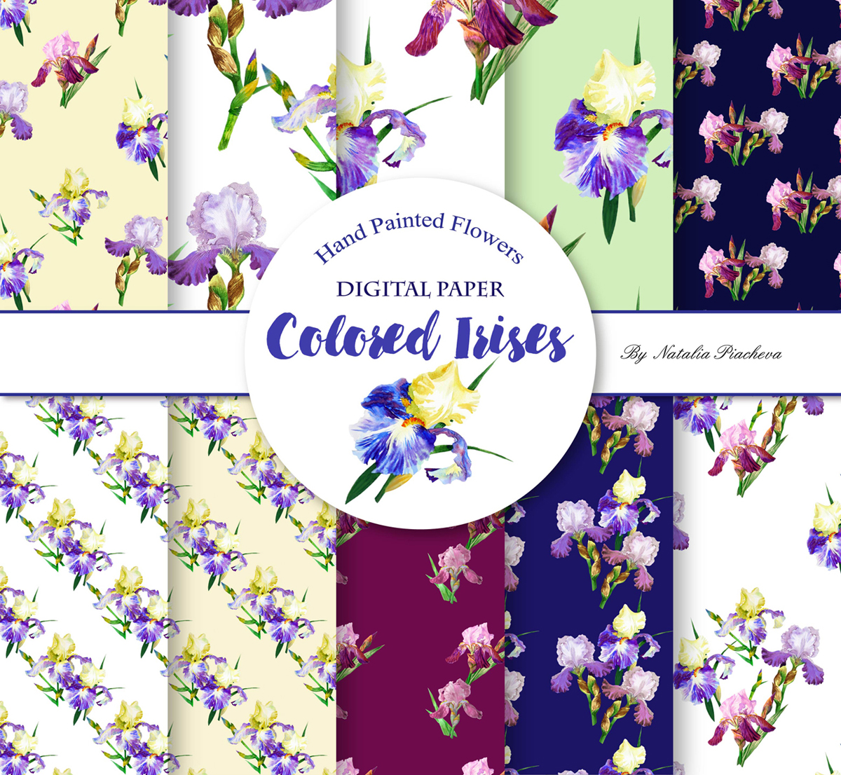 Digital Paper with Colored Irises example image 1