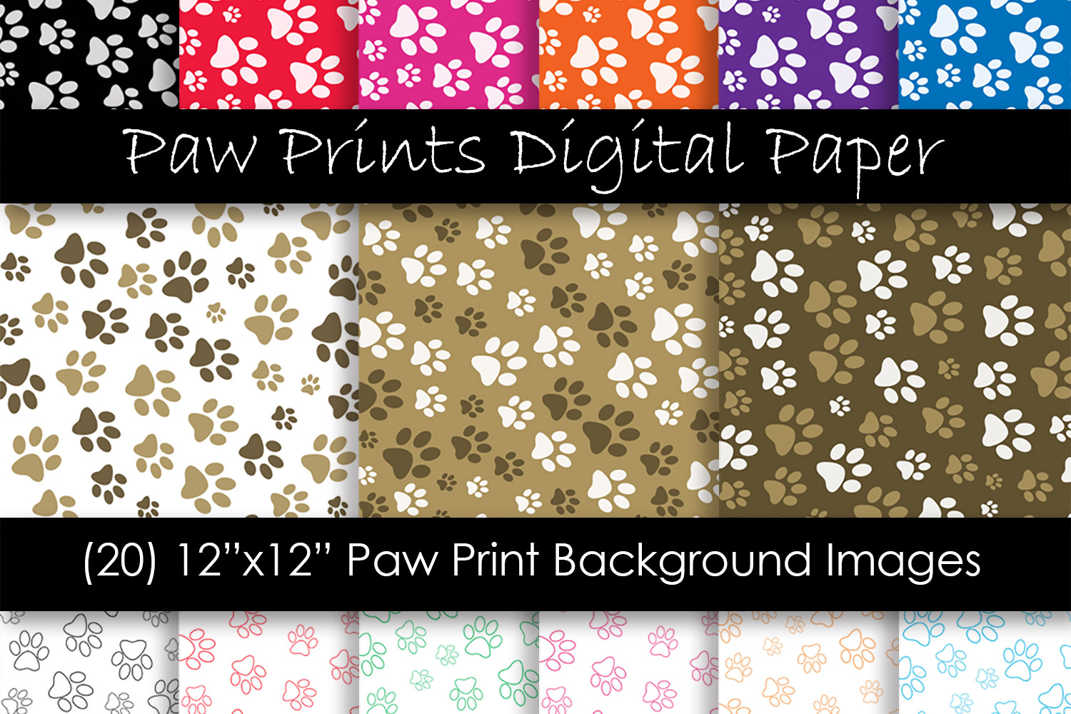 Paw Print Backgrounds - Animal Paw Print Digital Papers example image 1