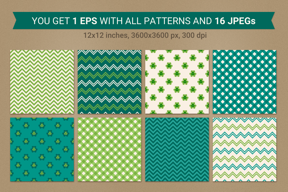 St. Patrick's Day Seamless Patterns - Set 1 example image 2