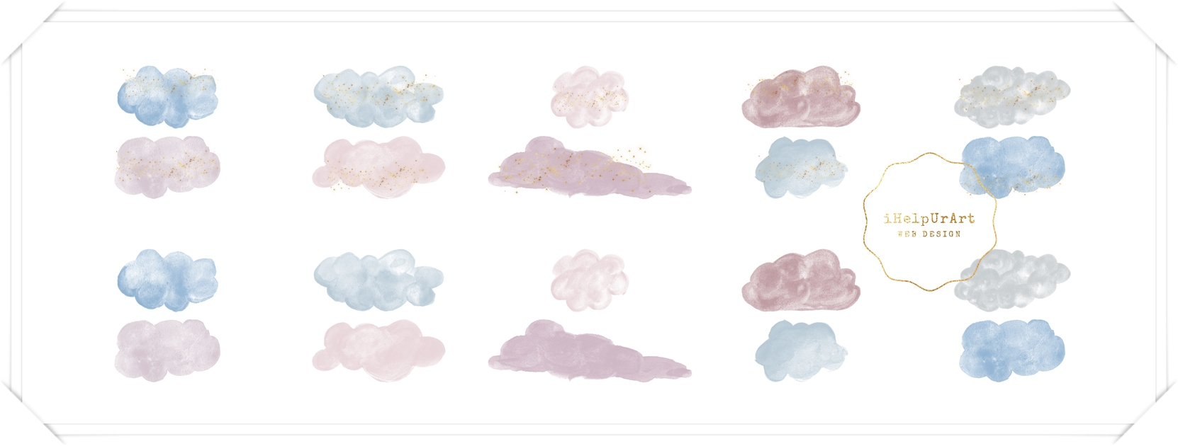 Watercolor Clouds Clipart example image 2