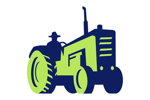 Organic Farmer Driving Vintage Farm Tractor example image 1