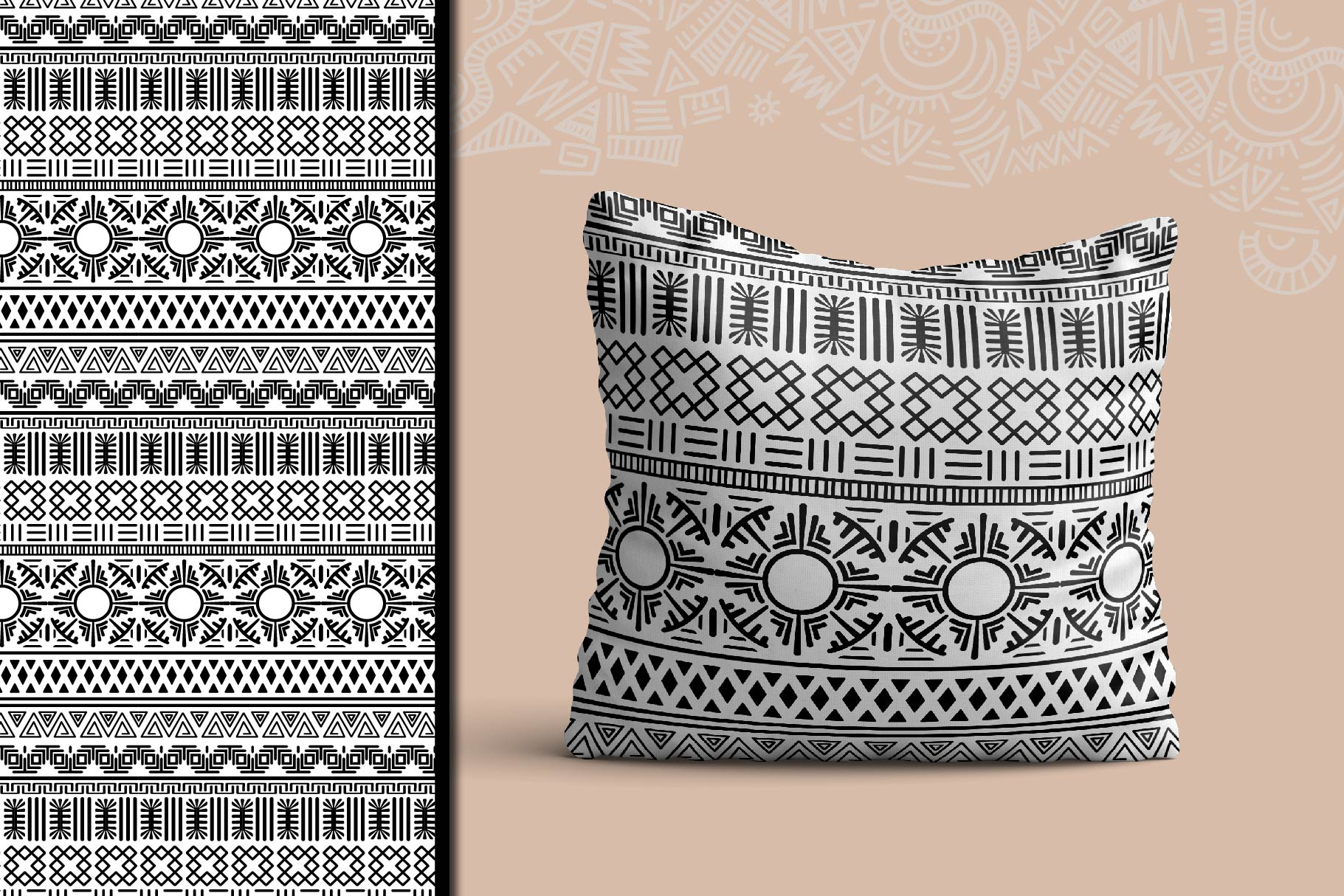 Black and White Ethnic Seamless example image 5