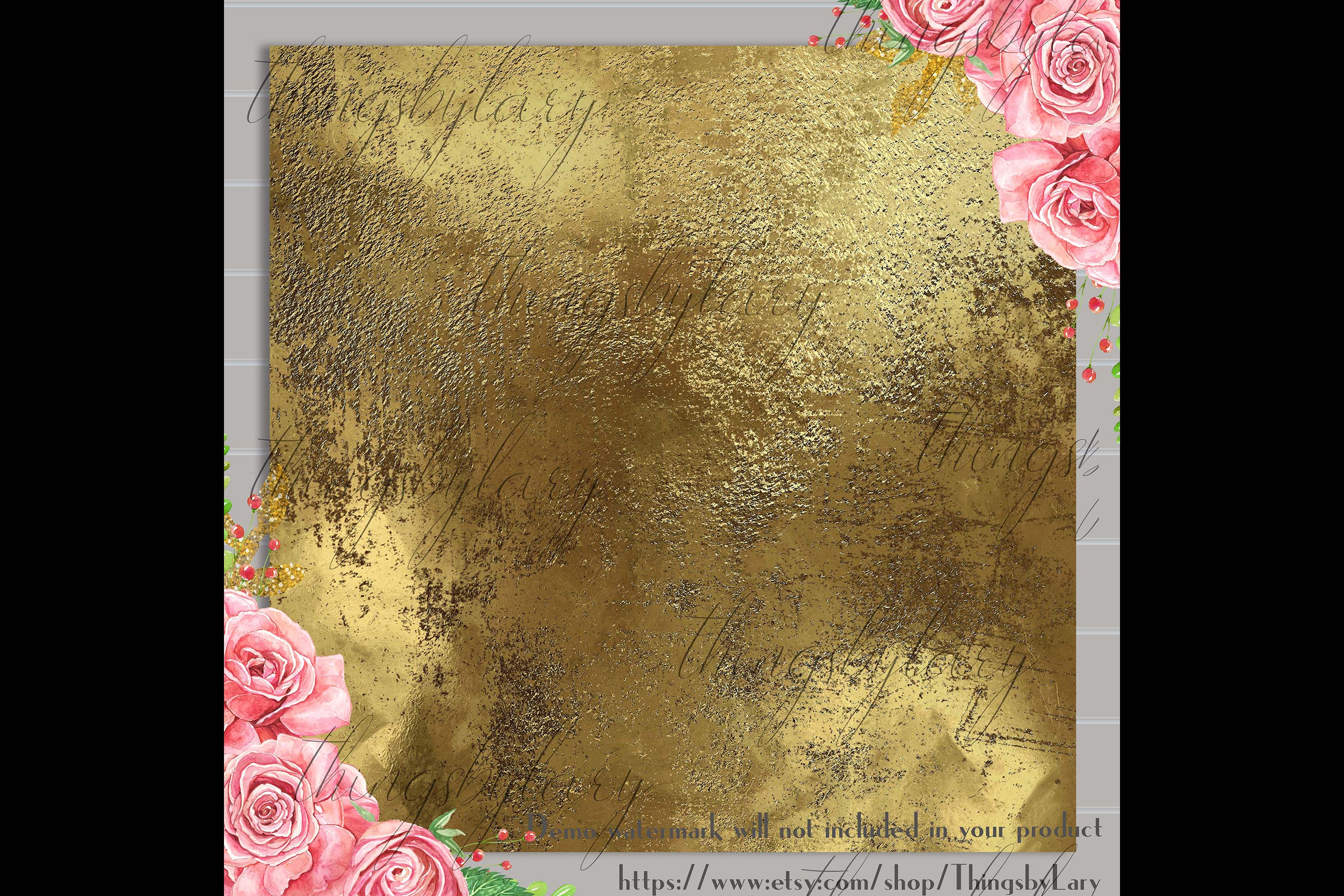 16 Distressed Metallic Gold Foil and Black Digital Papers example image 2