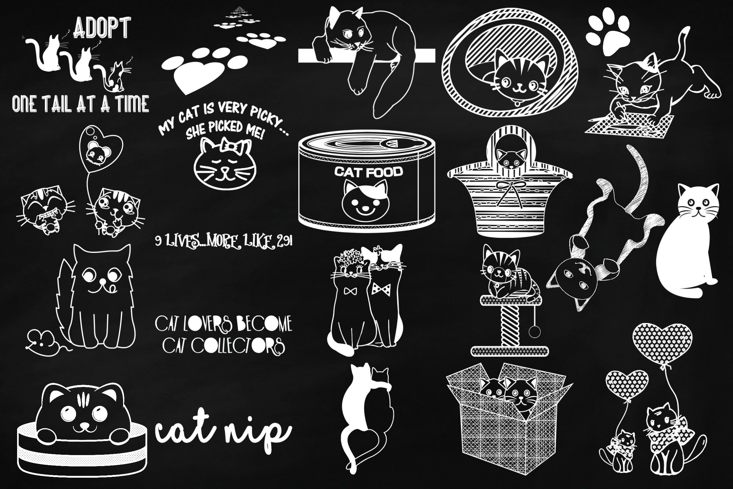 Chalk Cat Doodles Clip Art example image 3
