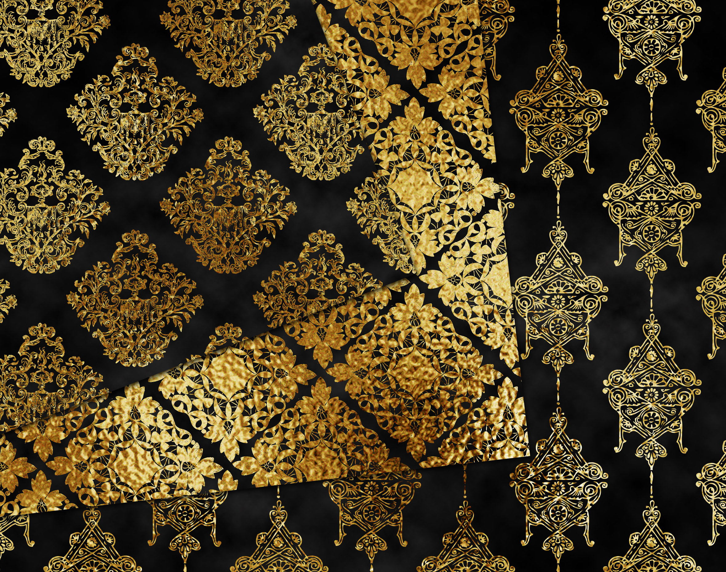 Gold and black damask digital paper example image 2