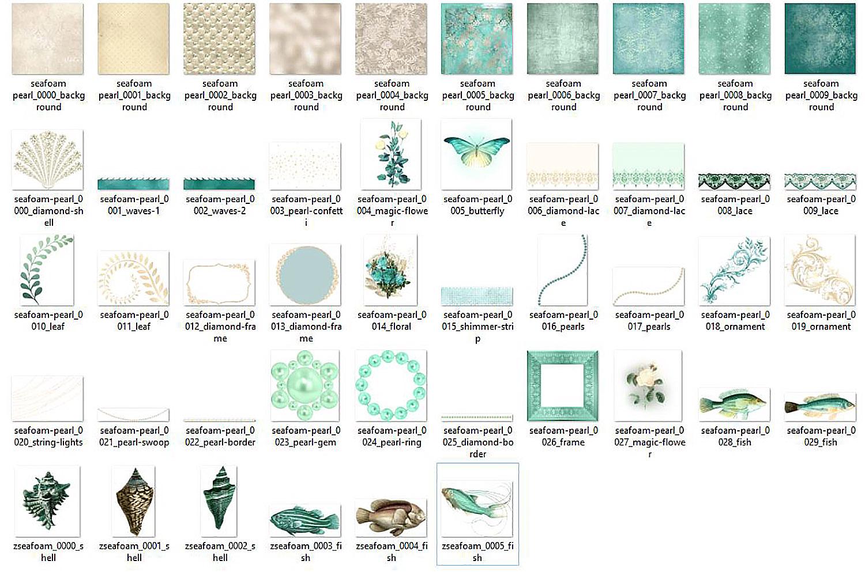 Seafoam and Pearl Digital Scrapbooking Kit example image 3