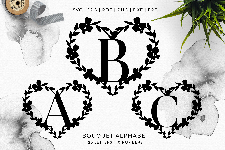 Heart A-Z Alphabet - Papercut SVG DXF PNG EPS JPG PDF example image 7