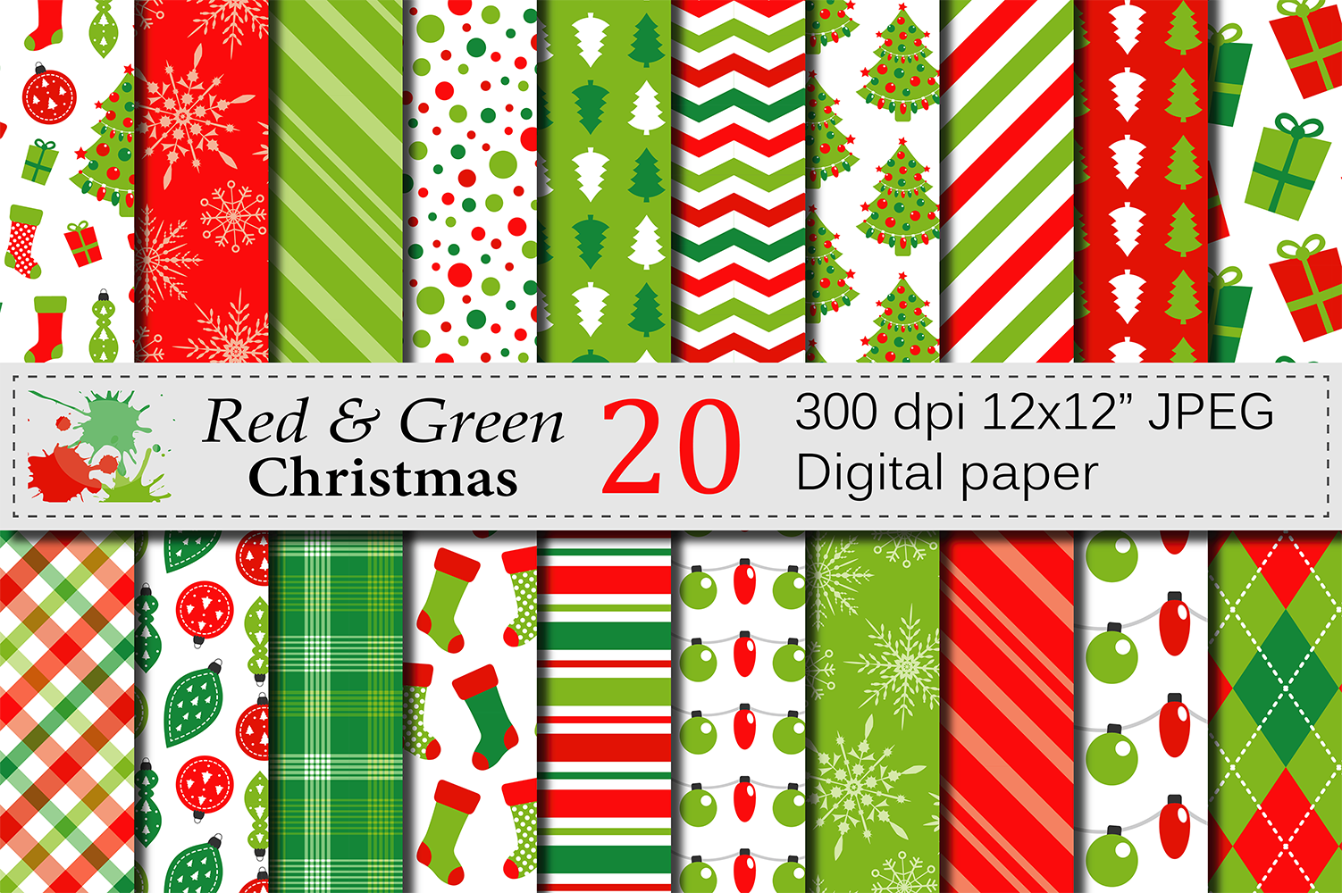Red and Green Christmas Digital Paper Set example image 1