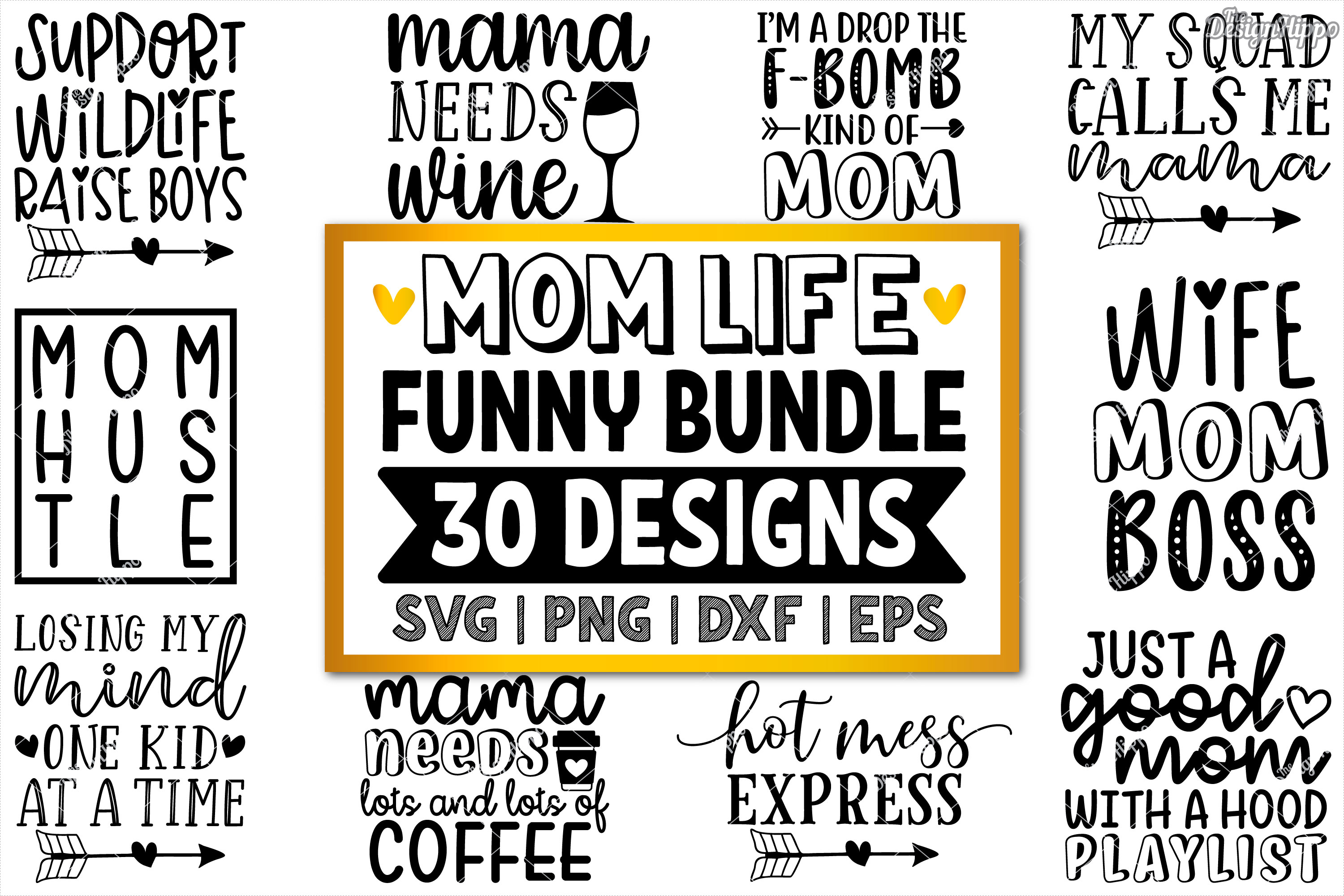 Funny Mom SVG Bundle of 30 Designs, DXF PNG Cricut Cut Files example image 1