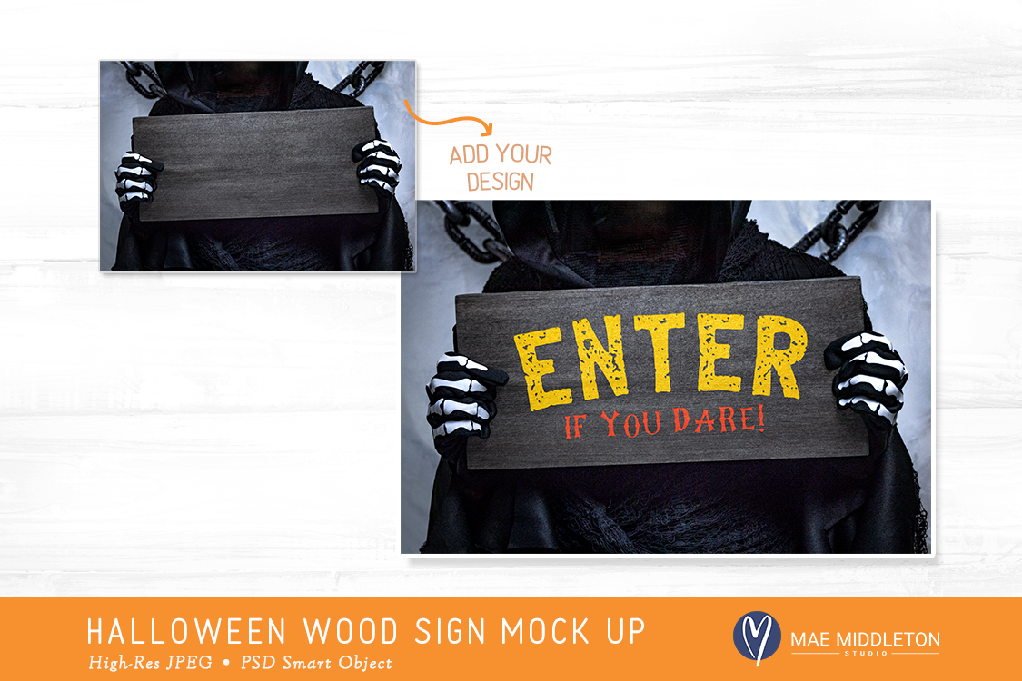 Wood Sign Mock up for Halloween example image 2
