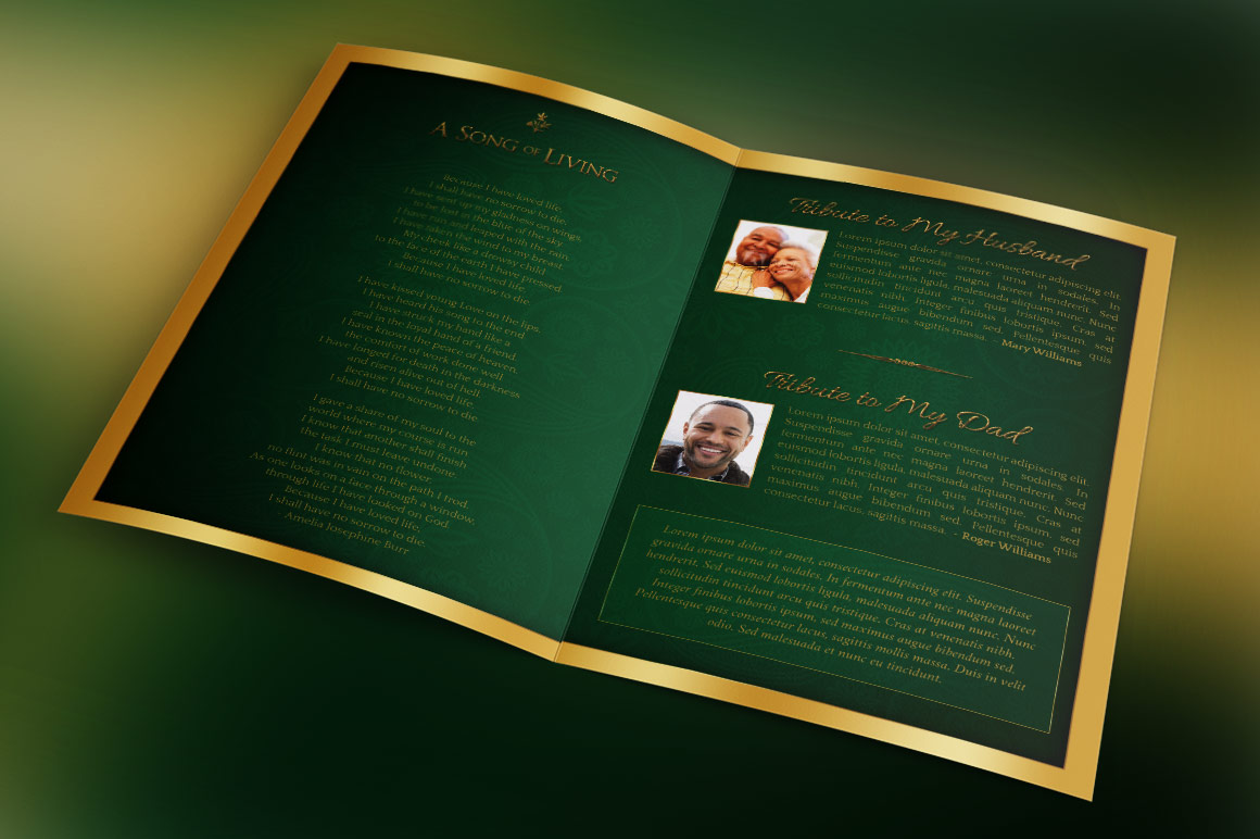 Green Regal Funeral Program Template example image 4