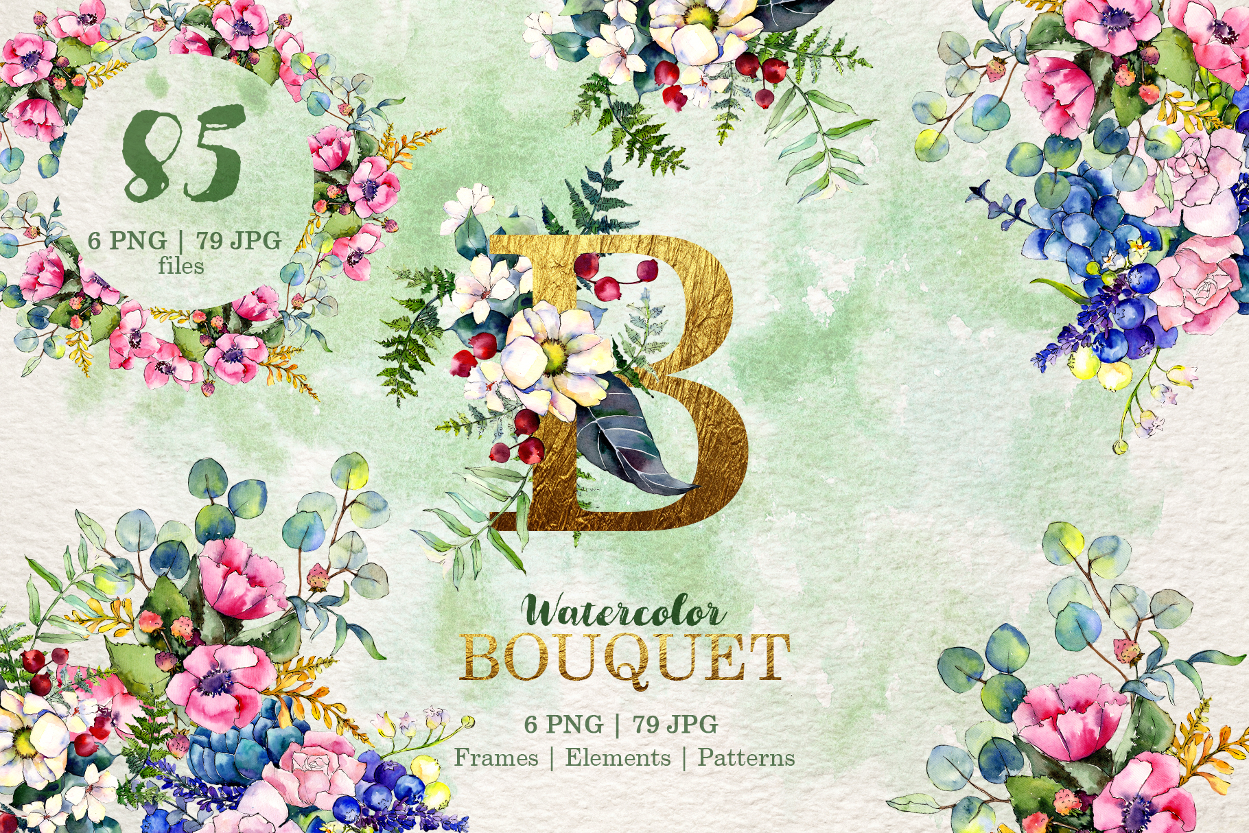 Gorgeous Flower Bouquets Watercolor png example image 1