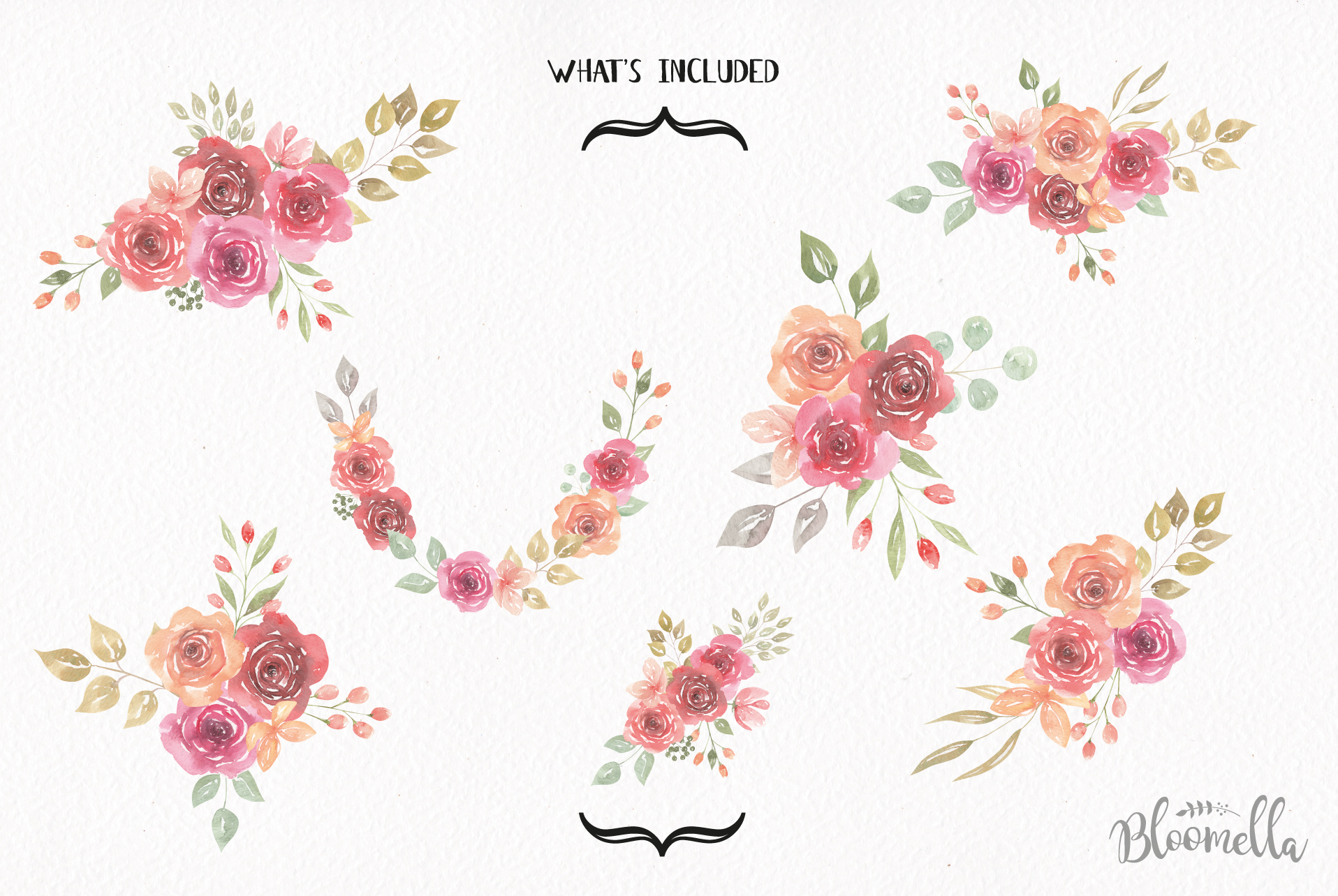 Watercolor Floral Delicate Wreaths 7 Bouquets Pretty Flower example image 5