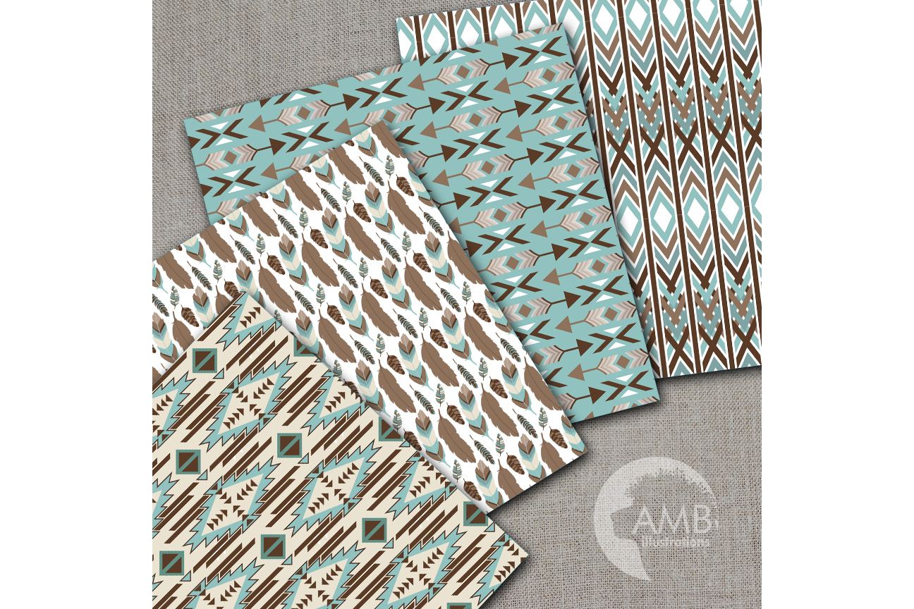 Arrows Tribal, Feathers Digital Papers, Tribal misty blue and brown Papers, Arrows Triangles, Chevron, instant download, AMB-1550 example image 2