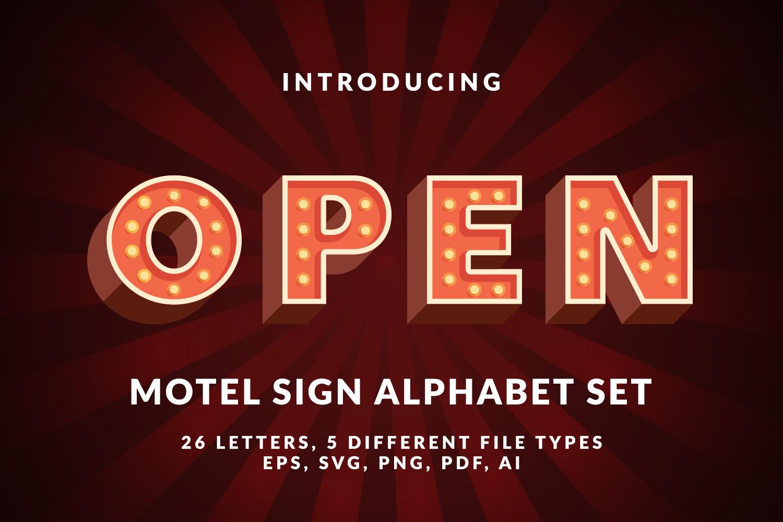 Motel Sign Alphabet Set example image 1