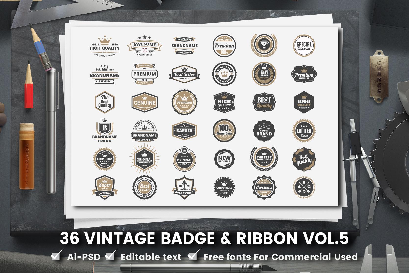 36 VINTAGE BADGE & RIBBON Vol.5 example image 1
